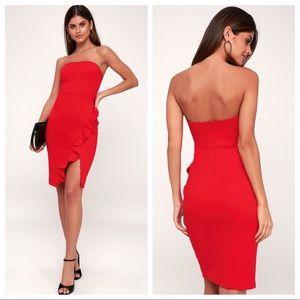 NWT Lulu's Anika Red Strapless Bodycon Dress XS